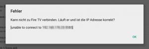 Fehlermeldung von Apps2Fire: Kann nicht zu Fire TV verbinden...