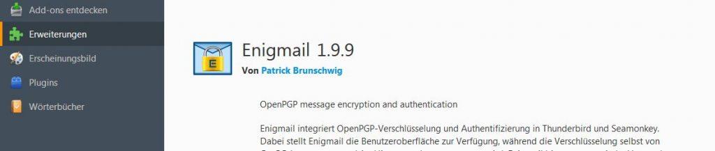 Screenshot aus Thunderbird: E-Mails mit PGP verschlüsseln per Add-on Enigmail