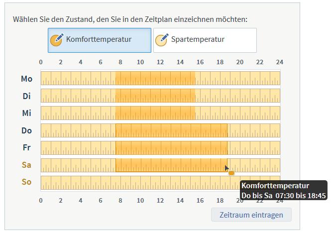 Fritz-Box-Weboberfläche: Zeitplan als Balkendiagramm von Montag bis Sonntag