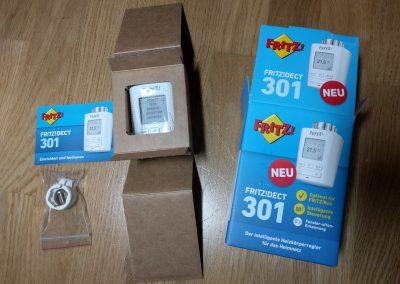 FRITZ!DECT 301 ausgepackt: Anleitung, Adapter, Thermostat und Verpackung