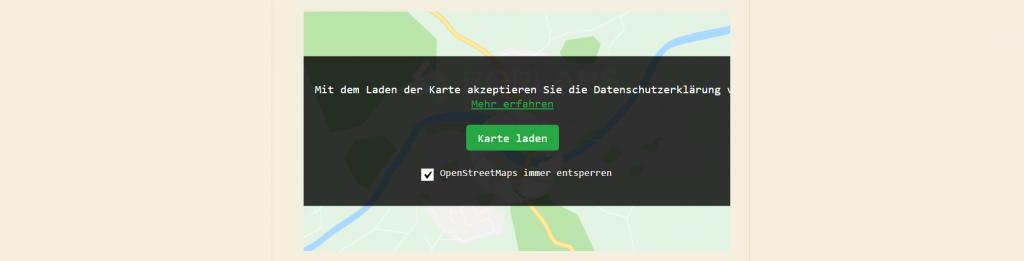 Overlay zum Einwilligen: Maps Marker Pro und Borlab Cookie (Screenshot)